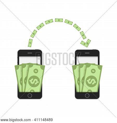 Money Sending Between Smartphones. Cash Transfer From Wallet To Another Wallet. Business, Financial
