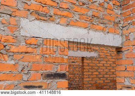 Closeup Door Monolithic Concrete Lintel Unfinished Building Construction.