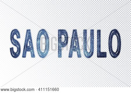 Sao Paulo Lettering, Sao Paulo Milky Way Letters, Transparent Background, Clipping Path