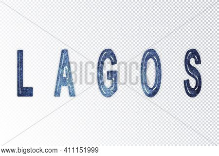 Lagos Lettering, Lagos Milky Way Letters, Transparent Background, Clipping Path