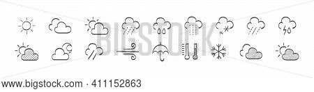 Set Of Drawn Weather Icons. Weathers Icons. Weather Vector Icons. Weather Forecast Sign Symbols. Wea