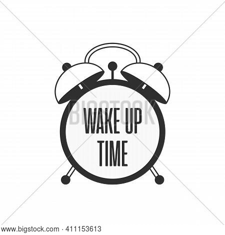Alarm Clock. Wake Up Vector Poster Concept. Black Alarm Clock Vector Illustration. Wake-up Time In S