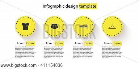 Set Polo Shirt, Skirt, Leather Belt And Hanger Wardrobe. Business Infographic Template. Vector