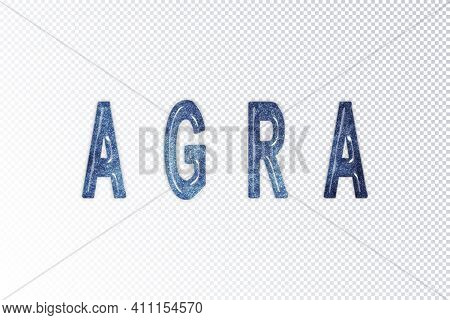 Agra Lettering, Agra Milky Way Letters, Transparent Background, Clipping Path
