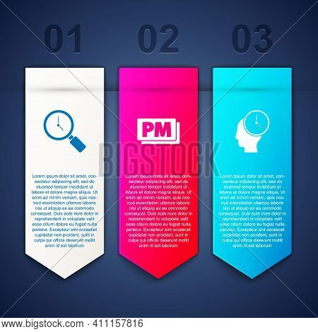 Set Magnifying Glass With Clock, Clock Pm And Time Management. Business Infographic Template. Vector