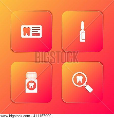 Set Dental Card, Painkiller Tablet, And Search Icon. Vector