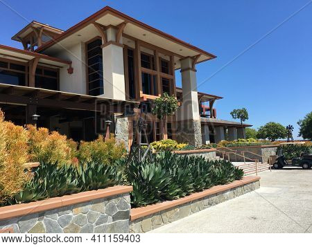 COTO DE CAZA, CALIFORNIA - JULY 20, 2019: Clubhouse at the Coto de Caza Golf and Racquet Club, a private 36-hole country club in Orange County that offers tennis and a spa.