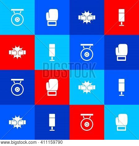 Set Gong, Boxing Glove, Punch Boxing Gloves And Punching Bag Icon. Vector