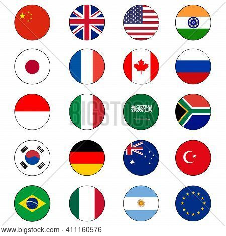 Group Of Twenty (20) Or G20 Flag Icon Set Vector Circle Push Buttons For Global Political Cooperatio