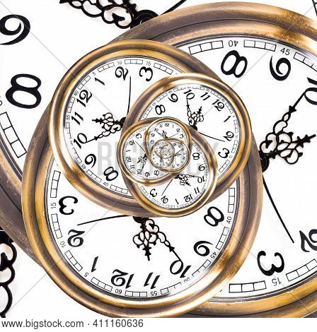 Abstract Background Made Of Watch Faces Repetitions. Deadline Stress And Time Shortage Concept.