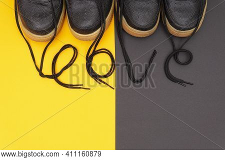 Matching Leather Sneakers With The Lettering Love Made Of The Laces On A Contrast Yellow And Brown B