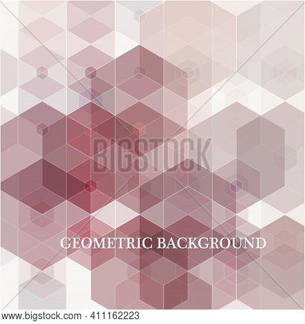 Pink Grid Mosaic Background, Creative Design Templates. Hexagonal Shapes.