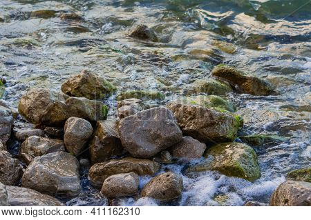Wet Mossy Stones On A Shore, Seascape