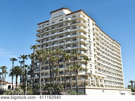 HUNTINGTON BEACH, CA - MARCH 25, 2015: The Waterfront Beach Resort. Part of the Hilton chains properties on PCH in Huntington Beach, CA.