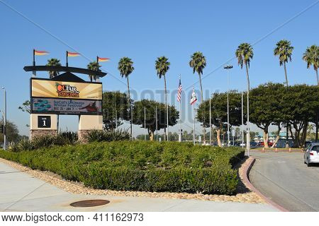 COSTA MESA, CA - DEC 1, 2017: OC Fair and Event Center main gate. The site hosts over 150 events attracting 4.3 million visitors annually.