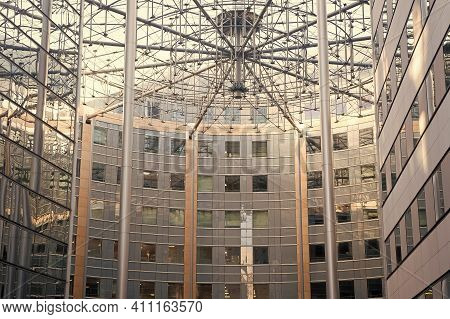 Complicated Structure. Decorative Metal Sculpture. Modern Roof Design. Geometric Architecture. Archi