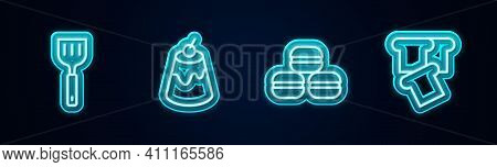 Set Line Spatula, Pudding Custard, Macaron Cookie And Bread Toast. Glowing Neon Icon. Vector