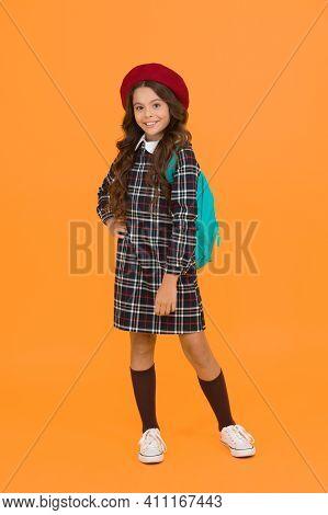 Teen Model. Kid School Fashion. Cheerful Child Ready For Schoolyear. Education. Knowledge Day. Happy