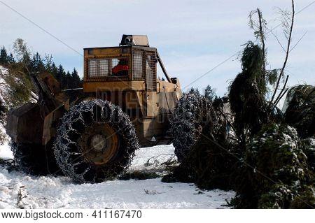 A Skidder During Wood Harvesting
