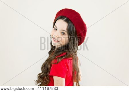 Parisian Child On Yellow Background. Summer Fashion And Beauty. Little Girl In French Style Hat. Hap