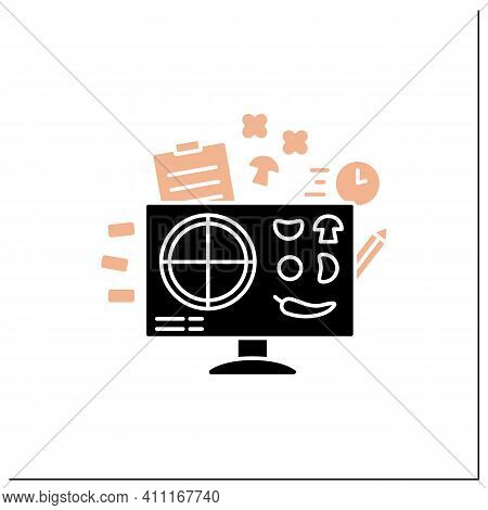 Pizza Constructor Glyph Icon. Application Helps Create Perfect Pizza. Online Shopping. Click-and-col