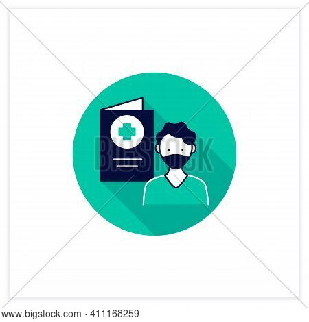 Covid19 Passport Flat Icon. Man In Mask Has Got Necessary Document. Vaccination Card. Health Care, P