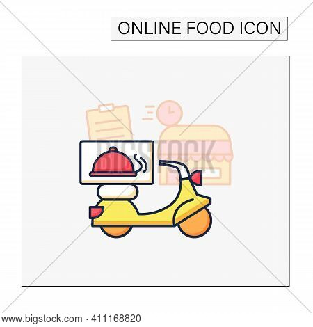 Restaurant Delivery Color Icon. Fast, Express Motorcycle Delivery, Quick Move Service. Fresh Food Fr