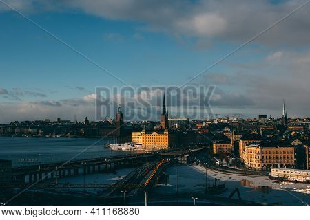 Stockholm\'s Old Town, With Visible Iconic City Buildings, On Sunny Winter Day. In Foreground You Ca