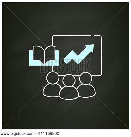 Comprehensive Business Training Programs Chalk Icon. Productivity Growth, Refresh Workforce Skill, M