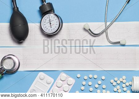 Ecg, Tonometer And Pills For Heart Disease. Myocardial Infarction And Other Heart And Vascular Disea