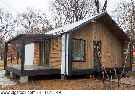 Almaty, Kazakhstan - February 20.2021: Sample Of A Modular House With A Terrace Installed In A Publi