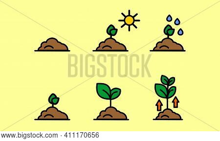 Agro, Agricultural, Farm. Agriculture Icons, Agro Icons. The Process Of Landscaping, Watering And Pl