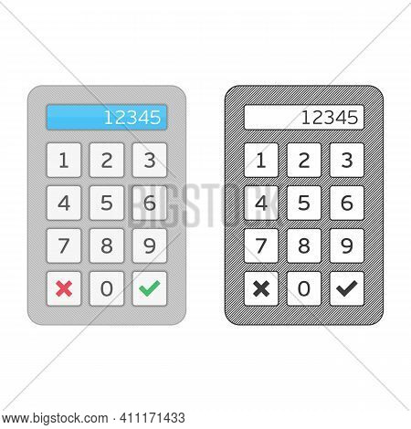 Keypad Entry. Device Entering Security System Code. Digital Keypad, Keyboard, Dialer - Access Panel.