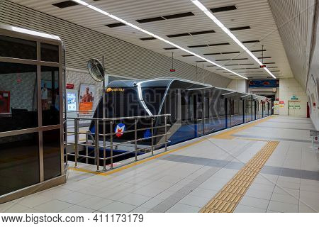 Istanbul, Turkey - October 6, 2019: F1 Taksim - Kabatas Underground Funicular Line.