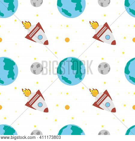 Space Rocket Flies Near The Earth And The Moon On A White Background. Space Exploration. Travel To S
