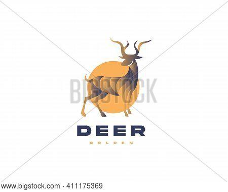 Deer Logo Design  Golden Logo Design  Animal Logo Design  Golden Deer Logo Icon Vector Concept