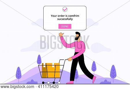 Order Confirmed Flat Illustration Concept Vector, Man Done Online Shopping