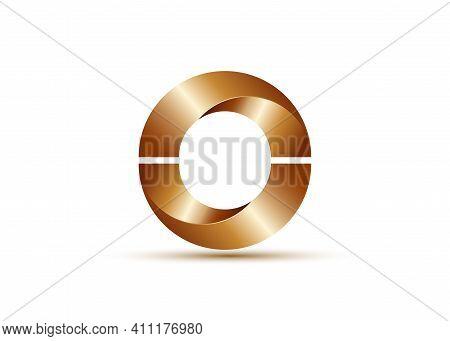 Logo Design Glossy Metallic Semi Circles. Bronze Alphabet, Impossible Letter O Symbol. 3d Zero Numbe
