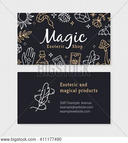 A Business Card For A Magic And Witchcraft Shop With Esoteric Items. Vector Template With Mystical S