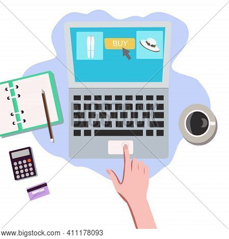 Online Shopping Landing Page Website Illustration With Woman Hand And Laptop. Online Shopping Landin