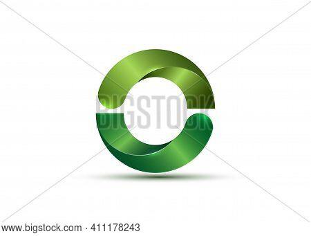3d Logo Bio Design Glossy Green Semi Circles. Ecologic Round, Alphabet, Impossible Letter O Symbol O
