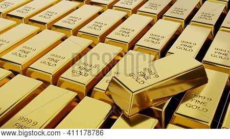 Close-up Stack Of Gold Bullion Bars Concept Of Financial Wealth And Reserve. Precious Metal Investme
