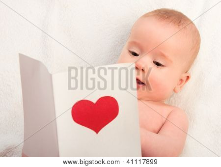 Beautiful  Baby And Postcard  Valentine's Day With A Red Heart