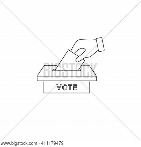 Flat Hand Putting Vote Bulletin Into Ballot Box Line Icon. Election Concept