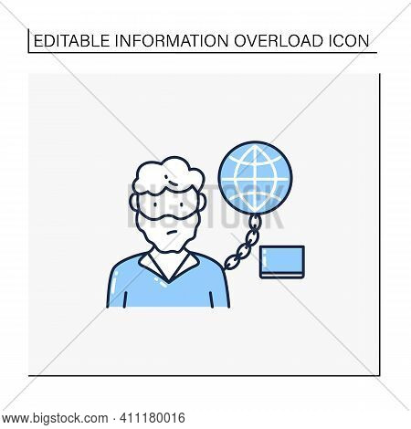 Internet Addition Line Icon. Excessive Or Poorly Controlled Dependency Regarding Computer Use And In