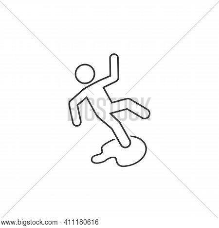 Slippery Floor Danger Pictogram Illustration Isolated Line Icon White Background