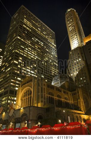 Saint Bartholomew's Episcopal Church New York City Nighttime Christmas Fair