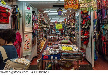 Hong Kong, China - May 12, 2010: Stanley Neighborhood. Look Into Gift Shop Mainly Selling Textile Ba