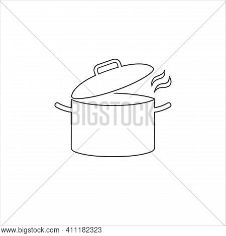 Cooking Pot Or Stockpot Stock Pot Flat Vector Line Icon Cooking
