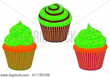 Illustration On Theme Irish Holiday St Patrick Day, Big Set Green Muffins. Pattern St Patrick Day Co
